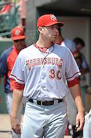 Harrisburg Senators pitcher Blake Treinen (30) during game against the Trenton Thunder at ARM & HAMMER Park on July 31, 2013 in Trenton, NJ.  Harrisburg defeated Trenton 5-3.  (Tomasso DeRosa/Four Seam Images)