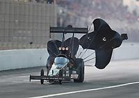 Nov 10, 2018; Pomona, CA, USA; NHRA top fuel driver Shawn Reed during the Auto Club Finals at Auto Club Raceway. Mandatory Credit: Mark J. Rebilas-USA TODAY Sports