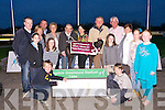 Winner James Griffin Tralee, Trained by Tony Griffin were presented with a trophy by Members  of Nano Nagle Community Centre at a fundraiser in the Kingdom Greyhound stadium on Friday Pictured Cillian Lynch, Niamh Denham, Gerry Casey, Emma Casey, Elaine Molyneaux, Des Molyneaux, Sheila O'Sullivan, Ann Casey, Cormac Lynch, Sarah Leen, Aine Scott, Alice Casey, Pauline Kenner and Stuart Higgins