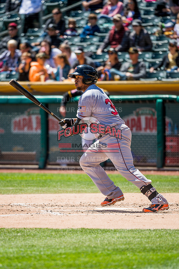 Miguel Olivo (38) of the Sacramento River Cats at bat against the Salt Lake Bees in Pacific Coast League action at Smith's Ballpark on May 01, 2016 in Salt Lake City, Utah. Sacramento defeated Salt Lake 16-6.  (Stephen Smith/Four Seam Images)