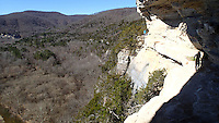 NWA Democrat-Gazette/FLIP PUTTHOFF <br /> Hikers step carefully along a narrow section of the Goat Trail high above the Buffalo River on Jan. 29, 2016.