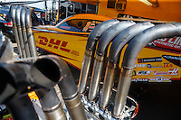 May 22, 2016; Topeka, KS, USA; Header pipes for the engine of the funny car of NHRA driver Del Worsham in the pits during the Kansas Nationals at Heartland Park Topeka. Mandatory Credit: Mark J. Rebilas-USA TODAY Sports