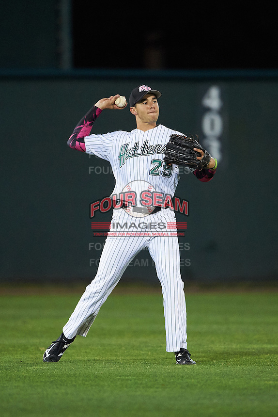 Stetson Hatters center fielder Vance Vizcaino (29) throws the ball in during a game against the Siena Saints on February 23, 2016 at Melching Field at Conrad Park in DeLand, Florida.  Stetson defeated Siena 5-3.  (Mike Janes/Four Seam Images)