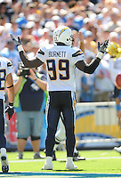 Sep. 20, 2009; San Diego, CA, USA; San Diego Chargers linebacker (99) Kevin Burnett against the Baltimore Ravens at Qualcomm Stadium in San Diego. Baltimore defeated San Diego 31-26. Mandatory Credit: Mark J. Rebilas-
