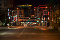 Las Vegas NV - March 21:  Fremont Street Experience empty after shutdown of all nonessential businesses in Las Vegas, Nevada on March 21, 2020. <br /> CAP/MPI/DAM<br /> ©DAM/MPI/Capital Pictures
