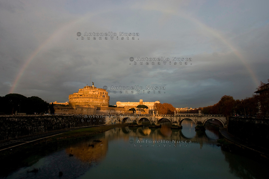 A rainbow over Saint Angel Castle in Rome.