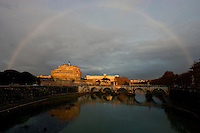 A rainbow over Saint Angel Castle in Rome.