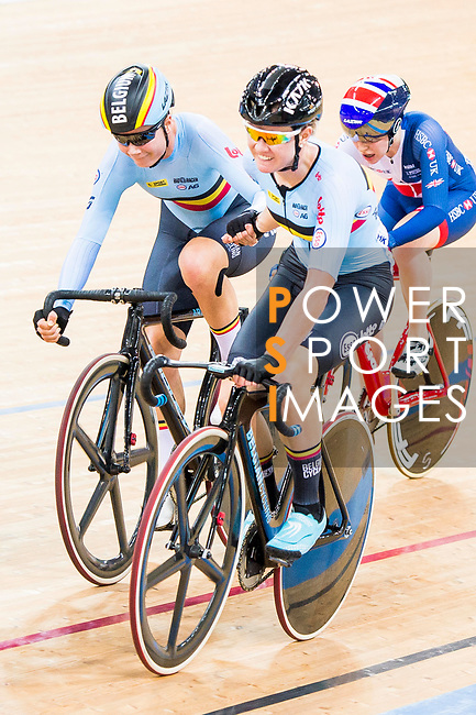 Lotte Kopecky and Jollen D'Hoore of Belgium Riders compete on the Women's Madison 30km Final during the 2017 UCI Track Cycling World Championships on 15 April 2017, in Hong Kong Velodrome, Hong Kong, China. Photo by Marcio Rodrigo Machado / Power Sport Images