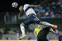 SAN JOSE, CA - AUGUST 24: Derek Cornelius #13 of the Vancouver Whitecaps FC heads the ball during a Major League Soccer (MLS) match between the San Jose Earthquakes and the Vancouver Whitecaps FC  on August 24, 2019 at Avaya Stadium in San Jose, California.