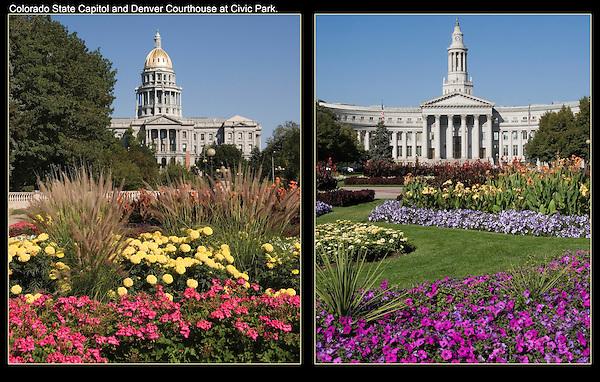 Colorado State Capitol (left),  Denver County Courthouse, Denver, Colorado. .  John offers private photo tours in Denver, Boulder and throughout Colorado. Year-round Colorado photo tours.