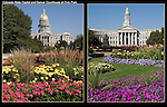 Colorado State Capitol (left),  Denver County Courthouse, Denver, Colorado. .  John offers private photo tours in Denver, Boulder and throughout Colorado. Year-round Colorado photo tours.