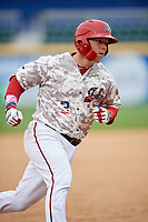Harrisburg Senators catcher Jake Lowery (3) runs the bases after hitting a home run in the bottom of the second inning during the second game of a doubleheader against the New Hampshire Fisher Cats on May 13, 2018 at FNB Field in Harrisburg, Pennsylvania.  Harrisburg defeated New Hampshire 2-1.  (Mike Janes/Four Seam Images)