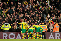 Norwich City celebrate their late winner to make it 3-2<br /> <br /> Photographer David Shipman/CameraSport<br /> <br /> The EFL Sky Bet Championship - Norwich City v Bolton Wanderers - Saturday 8th December 2018 - Carrow Road - Norwich<br /> <br /> World Copyright &copy; 2018 CameraSport. All rights reserved. 43 Linden Ave. Countesthorpe. Leicester. England. LE8 5PG - Tel: +44 (0) 116 277 4147 - admin@camerasport.com - www.camerasport.com