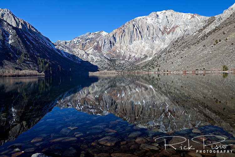Convict Lake lies on the eastern side of the Sierra Nevada Range  south of Mammoth Lakes, California.