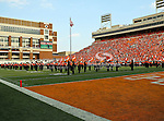 The Oklahoma State Cowboys marching band in action during the game between the Louisiana-Lafayette Ragin Cajuns and the Oklahoma State Cowboys at the Boone Pickens Stadium in Stillwater, OK. Oklahoma State defeats Louisiana-Lafayette 61 to 34.