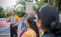 NYC Comptroller and Mayoral candidate John Liu makes a campaign stop at the Hindu Center in the Flushing neighborhood in the New York borough of Queens on Wednesday, August 28, 2013 during their parade celebrating the birthday of Lord Krishna. The neighborhood of Flushing is a polyglot of ethnic cultures including Chinese, Korean, Russian, Pakistanis, Indians, Sikhs among others. (© Richard B. Levine)