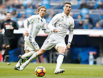 Real Madrid's Luka Modric (l) and Cristiano Ronaldo during La Liga match. January 7,2016. (ALTERPHOTOS/Acero)
