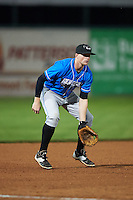 Hudson Valley Renegades third baseman Alex Schmidt (4) during a game against the Vermont Lake Monsters on September 3, 2015 at Centennial Field in Burlington, Vermont.  Vermont defeated Hudson Valley 4-1.  (Mike Janes/Four Seam Images)