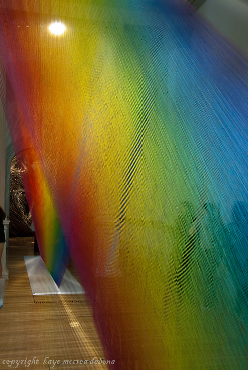 """Wonder"" is the inaugural exhibition at the Renwick Gallery in Washington D.C. - Rainbow Strands of polyester sewing thread created by Gabriel Dawe."