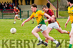 Castlegregory V Duagh : Castlegregory's Timothy Moriarty gets away from Duagh's Tom O'Sullivan  in the first round of the County league Division 5.