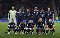 19th November 2019; Hampden Park, Glasgow, Scotland; European Championships 2020 Qualifier, Scotland versus Kazakhstan; Scotland players line up before the match - Editorial Use