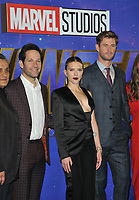 """Paul Rudd, Scarlett Johansson and Chris Hemsworth at the """"Avengers: Endgame"""" UK fan event, Picturehouse Central, Corner of Shaftesbury Avenue and Great Windmill Street, London, England, UK, on Wednesday 10th April 2019.<br /> CAP/CAN<br /> ©CAN/Capital Pictures"""