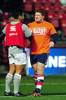 Kyle Traynor of Bristol Rugby speaks with Ben Tapuai of Bath Rugby during the pre-match warm-up. European Rugby Challenge Cup match, between Bristol Rugby and Bath Rugby on January 13, 2017 at Ashton Gate Stadium in Bristol, England. Photo by: Patrick Khachfe / Onside Images