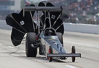 Apr. 26, 2013; Baytown, TX, USA: NHRA top alcohol dragster driver Bill Evans during qualifying for the Spring Nationals at Royal Purple Raceway. Mandatory Credit: Mark J. Rebilas-