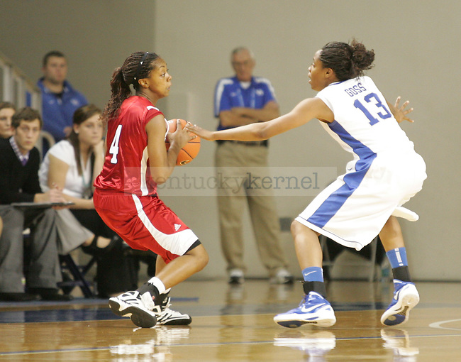 UK guard Bria Goss defends against a Jacksonville State player during the first half of UK's Women's basketball game against Jacksonville State in Lexington, Ky. on 11/15/11. Photo by Quianna Lige | Staff