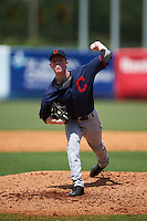 Pitcher Andrew Abbott (44) of Halifax County High School in Nathalie, Virginia playing for the Cleveland Indians scout team during the East Coast Pro Showcase on August 3, 2016 at George M. Steinbrenner Field in Tampa, Florida.  (Mike Janes/Four Seam Images)