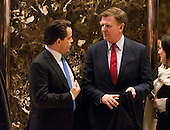 """CNBC """"Squawk Box"""" Co-anchor Joe Kernen and Trump campaign financial advisor Anthony Scaramucci are seen in the lobby of Trump Tower in New York, NY, USA on December 16, 2016. <br /> Credit: Albin Lohr-Jones / Pool via CNP"""