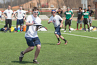 Liberty's Men's Ultimate Frisbee team plays George Mason in a tournament at the Liberty Intramural Fields on April 12, 2014 (Photo by Lizzy Benson).