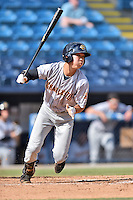 Charleston RiverDogs designated hitter Hoy Jun Park (1) swings at a pitch during game one of a double header against the Asheville Tourists at McCormick Field on July 8, 2016 in Asheville, North Carolina. The RiverDogs defeated the Tourists 10-4 in game one. (Tony Farlow/Four Seam Images)