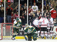 Nebraska-Omaha celebrates Jayson Megna's third period goal that put the Mavericks up 3-1 over Alaska-Anchorage. (Photo by Michelle Bishop) ..