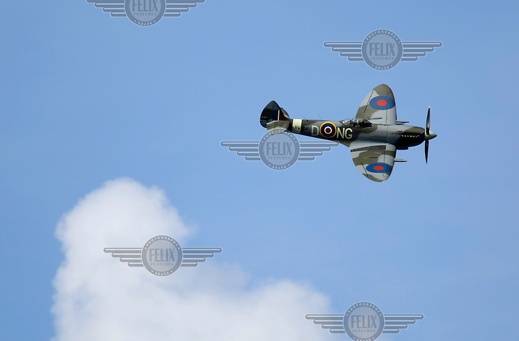 """Supermarine Spitfire Mk. XVIe RW386 NG-D  display over over Oslo as The Royal Norwegian Air Force celebrate """"100 years of airpower""""."""