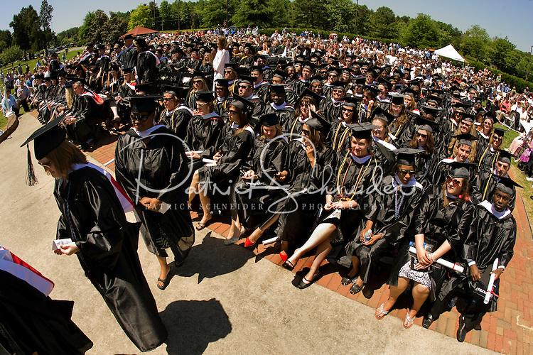 Graduates look on during a graduation ceremony Belmont Abbey College Graduation in Belmont Abbey.