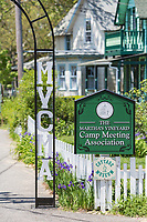 "A sign marks an entrance to the Martha's Vineyard Camp Meeting Association (MVCMA) aka ""Wesleyan Grove"" in Oak Bluffs, Massachusetts."