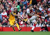 1st October 2017, Emirates Stadium, London, England; EPL Premier League Football, Arsenal versus Brighton; Gaetan Bong of Brighton crosses past Hector Bellerin of Arsenal