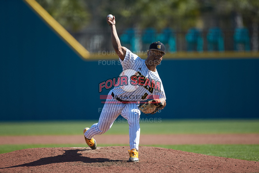 Kennesaw State Owls relief pitcher Malik Spratling (3) in action against the Western Carolina Catamounts at Springs Brooks Stadium on February 22, 2020 in Conway, South Carolina. The Owls defeated the Catamounts 12-0.  (Brian Westerholt/Four Seam Images)