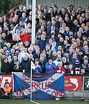 Rangers fans reacting to some aggro from the main stand