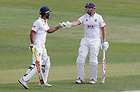 Nick Browne of Essex celebrates scoring fifty runs with varun Chopra during Essex CCC vs Kent CCC, Bob Willis Trophy Cricket at The Cloudfm County Ground on 2nd August 2020