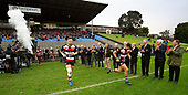 Sonny Bill Williams and Riley Hohepa run out past members of the Championship winning side from 1979. Mitre 10 Cup rugby game between Counties Manukau Steelers and Taranaki Bulls, played at Navigation Homes Stadium, Pukekohe on Saturday August 10th 2019. Taranaki won the game 34 - 29 after leading 29 - 19 at halftime.<br /> Photo by Richard Spranger.