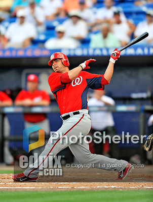 28 February 2011: Washington Nationals' catcher Jesus Flores in action during a Spring Training game against the New York Mets at Digital Domain Park in Port St. Lucie, Florida. The Nationals defeated the Mets 9-3 in Grapefruit League action. Mandatory Credit: Ed Wolfstein Photo