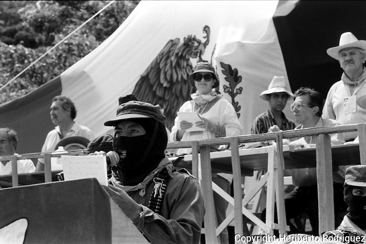 Zapatista rebels and supporters from all Mexico attend the National Democratic Convention in the EZLN strongholf of Guadalupe Tepeyac, in southern state of Chiapas, August 06, 1994. Photo by Heriberto Rodriguez