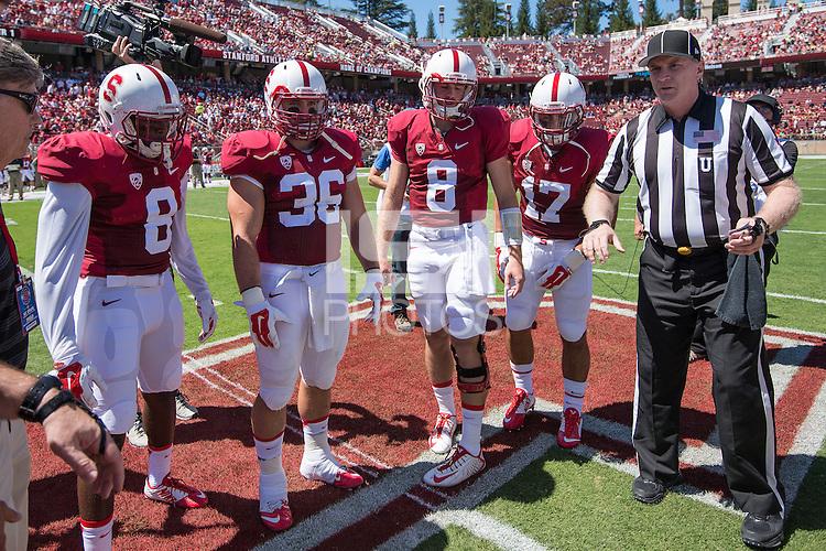 STANFORD, CA - September 30, 2014: The Stanford Cardinal vs UC Davis Aggies game at Stanford Stadium in Stanford, CA. Final score, Stanford Cardinal 45, UC Davis 0