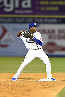 Chattanooga Lookouts second baseman Darnell Sweeney (9) attempts to turn a double play during a game against the Birmingham Barons on April 24, 2014 at AT&T Field in Chattanooga, Tennessee.  Chattanooga defeated Birmingham 5-4.  (Mike Janes/Four Seam Images)