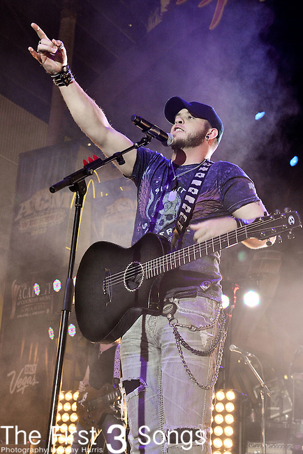 Brantley Gilbert performs during the ACM Concerts at Fremont Street Experience Event in Las Vegas, Nevada on March 30, 2012.