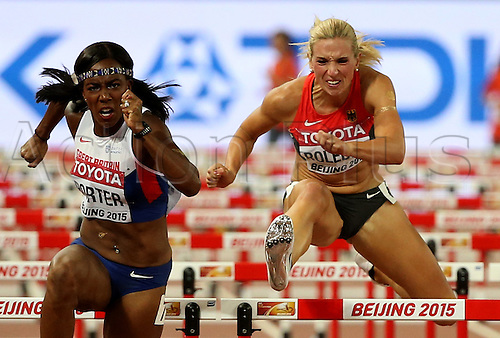 28.08.2015. Birds Nest Stadium, Beijing, China.  (L-R) Tiffany Porter of Great Britain and Cindy Roleder of Germany in action during the women's 100m Hurdles Semi-Final at the Beijing 2015 IAAF World Championships at the National Stadium, also known as Bird's Nest, in Beijing, China, 28 August 2015.