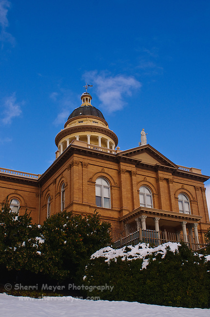 Historic Auburn Courthouse in the snow, Auburn, California.