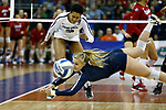 KANSAS CITY, KS - DECEMBER 14: Kendall White #3 of Penn State University dives for a ball while taking on the University of Nebraska during the Division I Women's Volleyball Semifinals held at Sprint Center on December 14, 2017 in Kansas City, Missouri. (Photo by Tim Nwachukwu/NCAA Photos via Getty Images)